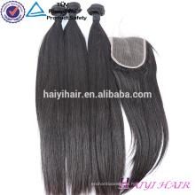 Reines Haar-gerade Art-Haar-brasilianische Spitze-Schließung der natürlichen Haar-4x4 mit Bündel