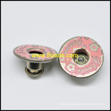 Metal Brass Jeans Button with Pink Oil