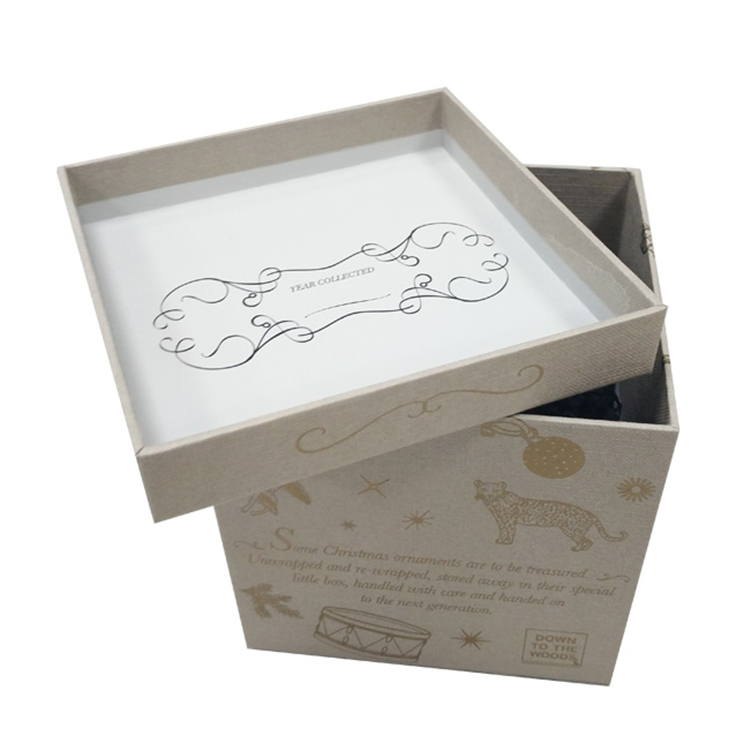 Printed Logo Gift Square Christmas Box With Lid