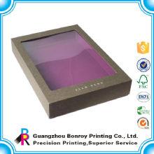Caixa de embalagem da roupa luxuosa roxa feita sob encomenda da placa de papel da janela