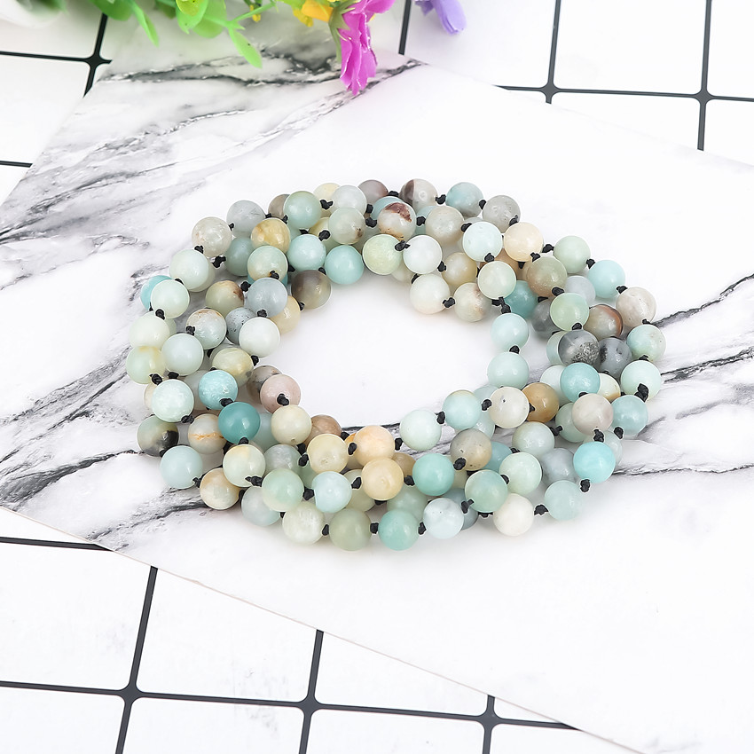 Collar interminable de Piedras Amazonite Mate Naturales