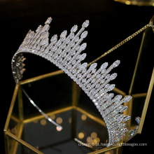Europa Elegante AAAZircon Zirconia CZ Cristal Bling Brilhante Ouro Royal Pageant Crown noiva Tiara de casamento