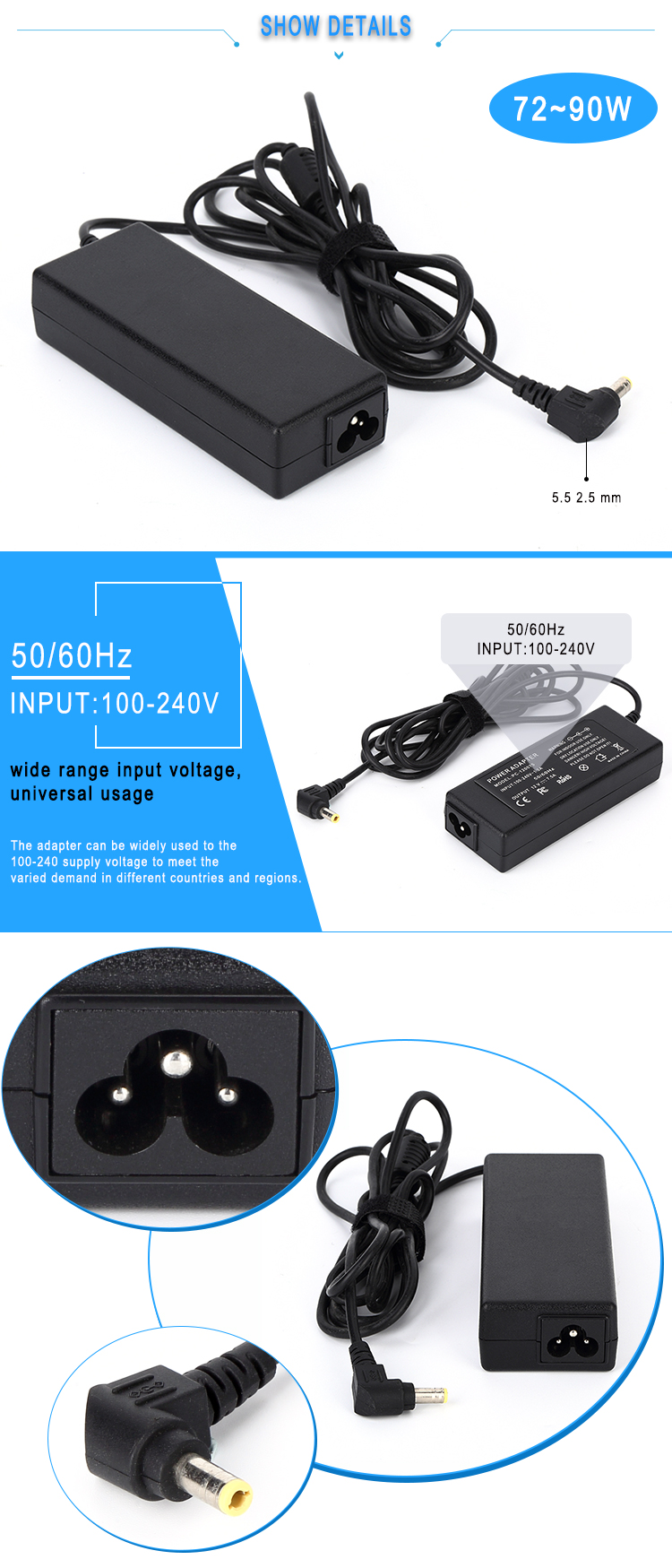 12V 6A 72W power adapter