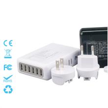 Chargeur de voyage à 6 ports avec fiches interchangeables 5V = 4A