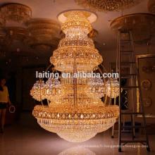 Vintage Intérieur Décoration De Luxe Hôtel Lobby Cristal Lustre Grand Grand Pendentif Suspendu Lampe Éclairage LT-63025