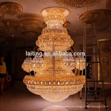 Vintage Interior Decor Luxury Hotel Lobby Crystal Chandelier Large Big Pendant Hanging Lamp Iluminación Ligera LT-63025