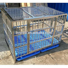 BAIYI Brand Doldável gaiola de cão de aço inoxidável, caixa de cachorro, gaiola de estimação com piso de plástico