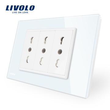 Панель из закаленного стекла Livolo, цвет белый / черный, итальянская розетка 10A / 16A VL-C9C3IT-11