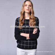 Camisola de malha padrão de manta casual de estilo europeu das mulheres