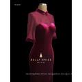 Populärer hoher niedriger burgundy Samtabendkleidgroßverkauf