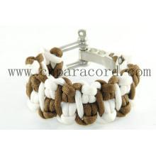 bracelete paracord khaki e branco novo estilo 550lbs