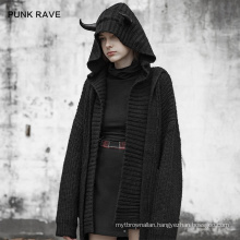 2021 Goth women coat winter hooded long sleeve pocket causal black knitted high quality coat new style coats OPM-111 PUNK RAVE