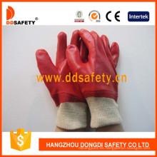 Guantes rojos totalmente sumergidos en PVC con traba de enclavamiento de muñeca de punto Dpv100