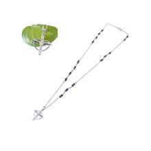 cruz de rosario de diamantes de imitación bling con collar de ala de ángel