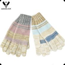 2016 nueva moda hecha punto guante del invierno cinco dedos