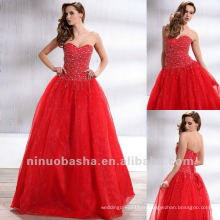 Fresh Red Sweetheart Ball Gown Sweep Train Perlée Sequin Corset Fermeture Quinceanera Dress Pageant Gown