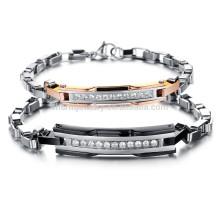 2015 nueva tendencia surcoreana de la manera del estilo en Europa y América un par de rejilla de acero titanium GS713 del diamante de la pulsera