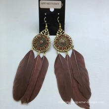 Brown Feather Earrings with Metal Fashion Jewelry