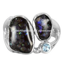 Красивый Аммолит И Швейцарский Голубой Топаз Gemstone 925 Чистого Серебра Кольцо Ювелирных Изделий
