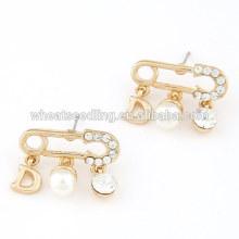 Pendientes de perlas de cristal de la perla del diseño de la broche de la manera