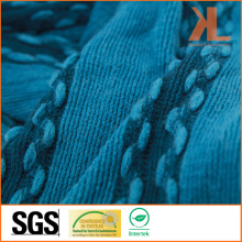 100% Acrylic Fashion Blue Striped Warp Knitted Scarf with Fringe