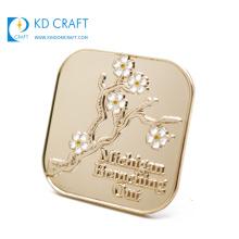 Free sample cheap custom made metal embossed logo enamel gold plated souvenir badge for promotion gift