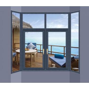 Woodwin Customized Color Double Tempered Glass Aluminium Casement Window