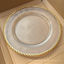 Hot Selling Wedding Decoration Gold Beaded Glass Charger Plate