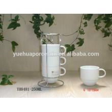 Eco-friendly durável chá de porcelana copo branco com rack de aço