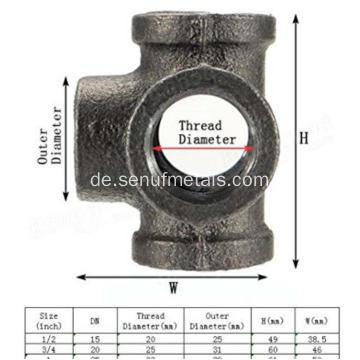 Cast Pipe Fitting 5-Wege-Kreuz