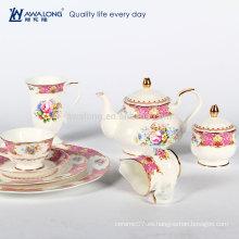 Juego de té de dibujo rosa de estilo real, juego de té de té de cerámica