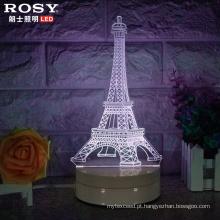 3D Visual Natal luz branca LED Lâmpada de mesa de cabeceira
