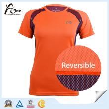 Tissu réversible Tshirt Womens Active Wear Lady Vêtements de sport