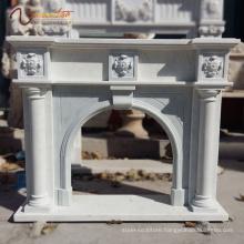 2018 New Factory Sale Natural Stone Column Decorative Carrara Marble Fireplace