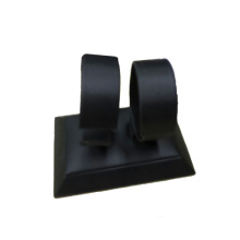 Popular negro PU doble relojes titular soporte base (WS-2W-BW1)