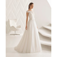 off Shoulder Capped Sleeve Lace Evening Dresses Bridal Gown (RS012)
