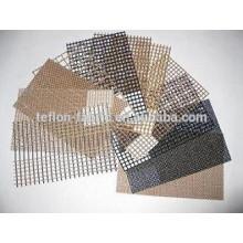 Isolamento térmico não-pegajoso teflon revestido fibra de vidro tecido de malha de arame