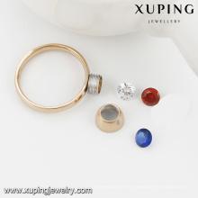 Nouveaux anneaux interchangeables d'acier inoxydable de la pierre CZ de 13782-Xuping 3 nouveaux pour 18k