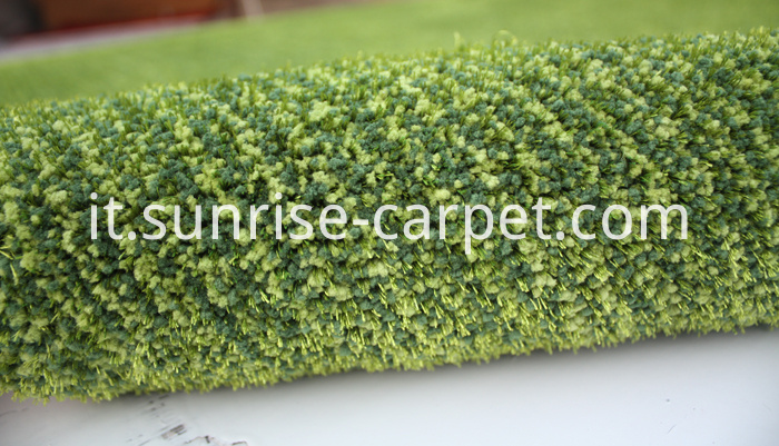 Microfiber with viscose short pile carpet Green color