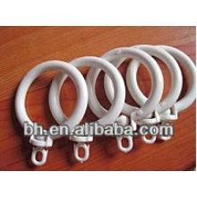 White plastic curtain rings