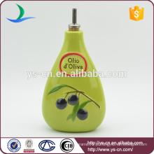 YSov0006-01 Verde óleo de cerâmica e garrafa de vinagre com o design de uvas