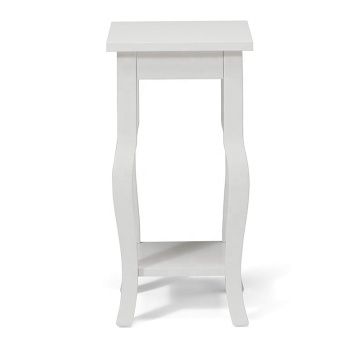 Small Wood Pedestal End Table Curved Legs with Shelf True White