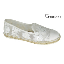 Women′s Causal Espadrille Flat Shoes with Lace Sequins
