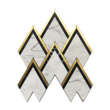 Soulscrafts White Carrara Marble Gold Brass Peak Waterjet Mosaic Tile
