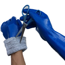 NMSAFETY water proof nitrile coated long cut resistant gloves