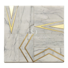 Soulscrafts Carrara Marble Gold Brass Blend Waterjet Mosaic Tile