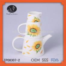 ceramic tea set with printing,hand painting flower pot,home goods tea pot set