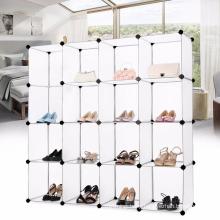 VIVINATURE Modular Storage Shoe Organizer Free Standing Portable Multi Use Plastic Cabinet with Door Panels