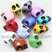 Fashion 10*13MM Carved Skull Crystal Plastic Tiny beads
