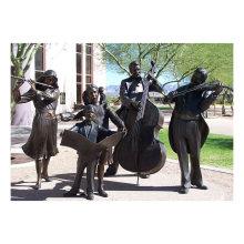 Metal Bronze Musician Family Sculptures for Outdoor Ornament